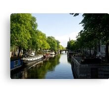 House Boats on Amsterdam Canal Canvas Print