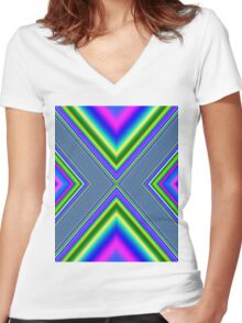 Psychedelic Geometry Women's Fitted V-Neck T-Shirt