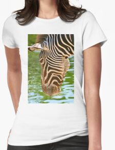 Zebra at water Womens Fitted T-Shirt