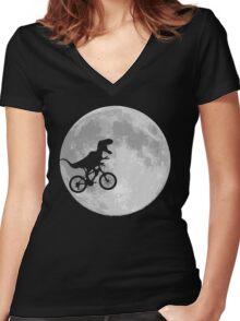 Dinosaur Bike and Moon Women's Fitted V-Neck T-Shirt