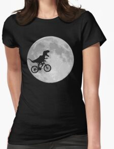 Dinosaur Bike and Moon Womens Fitted T-Shirt