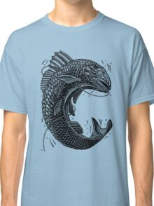Black and White Jumping Trout Classic T-Shirt