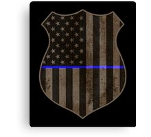 Thin Blue Line American Flag Police Badge Canvas Print