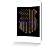 Thin Blue Line American Flag Police Badge Greeting Card