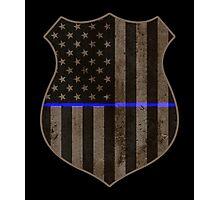 Thin Blue Line American Flag Police Badge Photographic Print