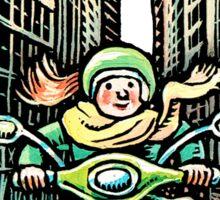 Woman on Vespa in New York Sticker