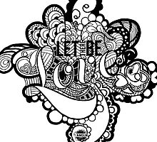 LET THERE BE LOVE Zentangle - Black & White by Tangldltd