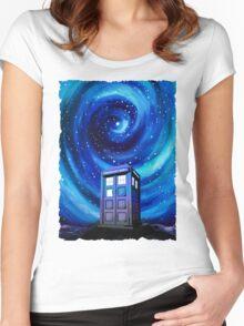 Tardis Vortex Starry Night Women's Fitted Scoop T-Shirt