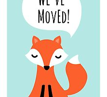 We've moved new address cards with cute cartoon fox by MheaDesign