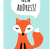 New address announcement cards with cute cartoon fox by MheaDesign