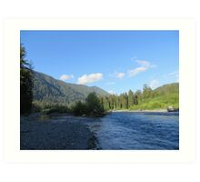 Pacific Northwest River, Mountain and Blue Sky Art Print