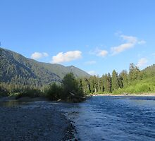 Pacific Northwest River, Mountain and Blue Sky by jkmarshall