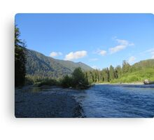 Pacific Northwest River, Mountain and Blue Sky Canvas Print