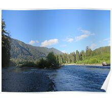 Pacific Northwest River, Mountain and Blue Sky Poster