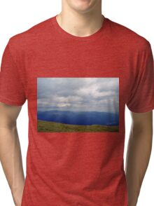 Natural scenery with mountains and cloudy sky. Tri-blend T-Shirt