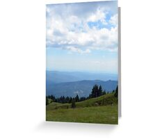 Natural scenery with mountains and cloudy sky. Greeting Card
