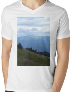 Natural scenery with mountains and cloudy sky. Mens V-Neck T-Shirt