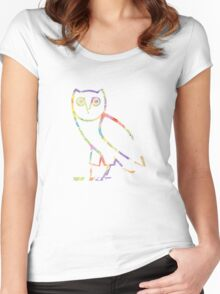 Owl Color Sketch Women's Fitted Scoop T-Shirt