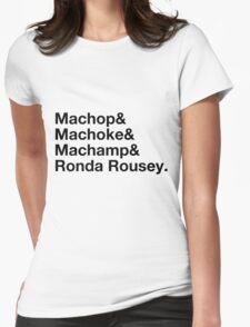 Stylish Pokemon T's | Machop & Machoke & Machamp & Ronda Rousey | Black on Light Womens Fitted T-Shirt