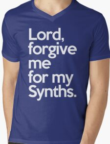 Forgive Me Synths Music Quote Mens V-Neck T-Shirt