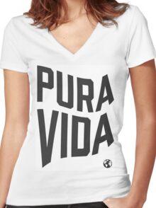 Pura Vida - Warped Time Women's Fitted V-Neck T-Shirt