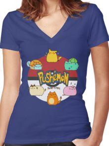 Pushemon Women's Fitted V-Neck T-Shirt