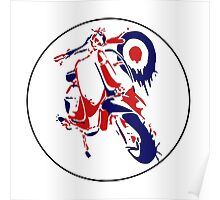 Retro Scooter : Red, White & Blue Poster