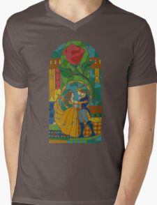 Beauty and The Beast - Stained Glass Mens V-Neck T-Shirt