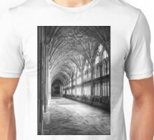 Gloucester Cathedral, Cloisters in Mono. Unisex T-Shirt