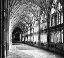 Gloucester Cathedral, Cloisters in Mono. by Maybrick