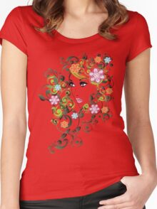 Grunge Summer Girl with Floral 5 Women's Fitted Scoop T-Shirt