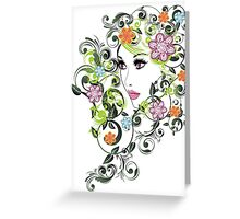 Grunge Summer Girl with Floral 5 Greeting Card