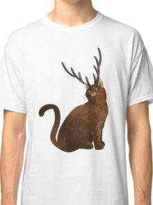Stag antlered fantasy cat  Classic T-Shirt