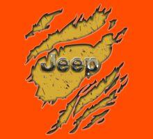 muddy yellow Jeep with chrome typograph Kids Tee