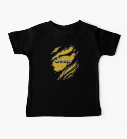 muddy yellow Jeep with chrome typograph Baby Tee