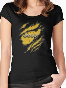 muddy yellow Jeep with chrome typograph Women's Fitted Scoop T-Shirt