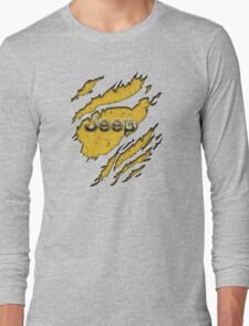 muddy yellow Jeep with chrome typograph Long Sleeve T-Shirt