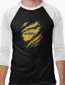 muddy yellow Jeep with chrome typograph Men's Baseball ¾ T-Shirt