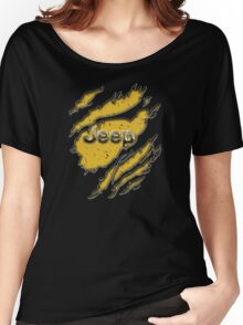 muddy yellow Jeep with chrome typograph Women's Relaxed Fit T-Shirt
