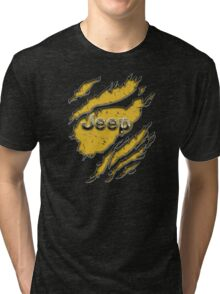 muddy yellow Jeep with chrome typograph Tri-blend T-Shirt