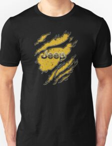 muddy yellow Jeep with chrome typograph Unisex T-Shirt