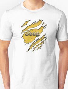 muddy yellow Jeep with chrome typograph Unisex T-Shirt