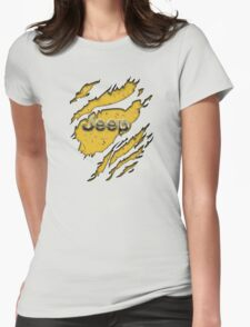 muddy yellow Jeep with chrome typograph Womens Fitted T-Shirt