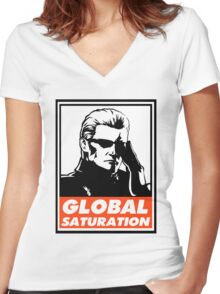 Wesker Global Saturation Obey Design Women's Fitted V-Neck T-Shirt
