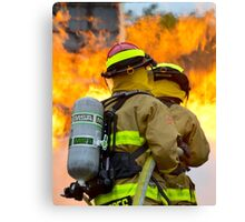 firefighters battle a wildfire Canvas Print