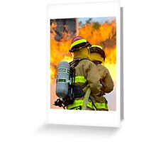 firefighters battle a wildfire Greeting Card
