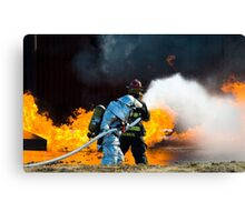firefighters spray water to wildfire Canvas Print