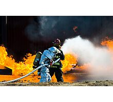 firefighters spray water to wildfire Photographic Print