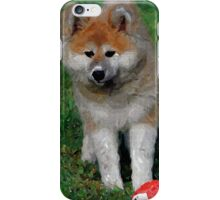 Akita Dog With Ball   iPhone Case/Skin