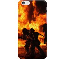 Firefighter bracing during firefighting iPhone Case/Skin